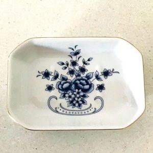 Blue white Floral Ceramic Soap Dish Bathroom Décor